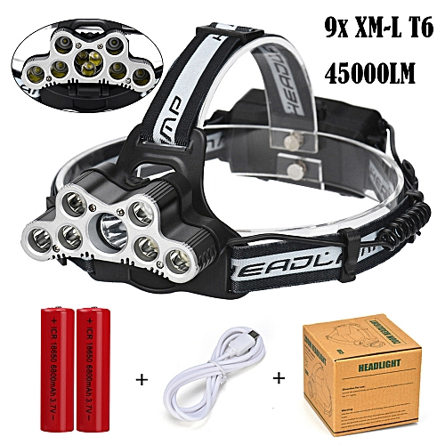 45000 LM 9X XM-L T6 LED Rechargeable Headlamp Headlight Travel Head Torch