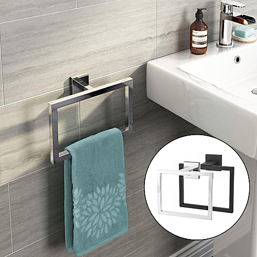 Chrome Modern Bathroom Wall Accessories Square Towel Ring Holder ACC121