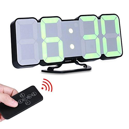 LED Digital Clock, Remote Control Voice Control 3D LED Digital Alarm Clock Display Time Date Temperature For Desktop Wall Clock Home Decoration