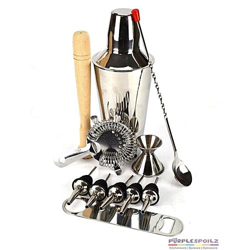 11Pcs 700ML Stainless Steel Cocktail Jigger Mixer Bar Drink Shaker Bartender Set