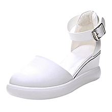 a05a6c426f8 Girls Net Red White Pump Shoes Female High Heel Leather Sandals-White