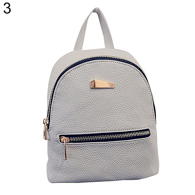 f593318874 Fashion Faux Leather Mini Backpack Girls Travel Handbag School Rucksack Bag -Grey