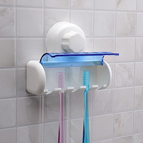 5 Set Toothbrush Suction Holder Wall Mount Rack