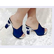ca87ee5b823 Fashion Female Glass Block Heel Slipper-Blue