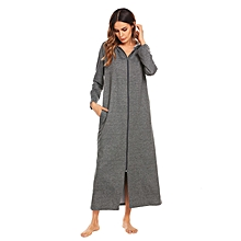 915c7e6582 Long Sleeve Zip-front Hoodie Bathrobe Sleepwear -Dark Gray