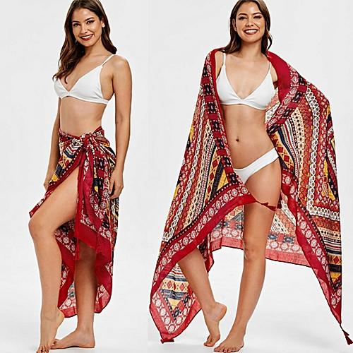 Women Print Casual Scarf Long Shawl Gauze Holiday Silk Towel Beach Towel Scarf