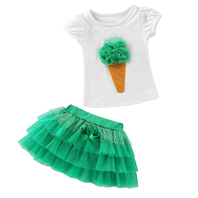 1d827b83d1 2Pcs Infant Baby Kids Girls 3D Ice Cream T-shirt Tops Tutu Skirt Princess  Dress