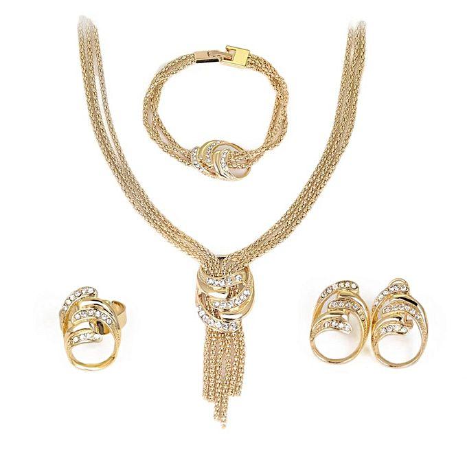 Fashion Necklace Bracelet Earrings Ring Four Pieces