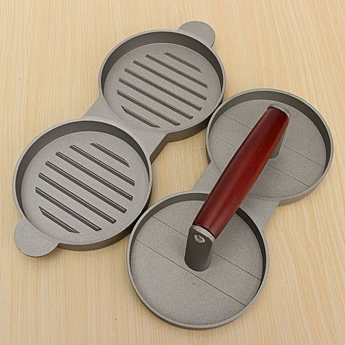 Aluminum Double Burger Press Hamburger Meat Beef Grill Patty Maker Kitchen Mold