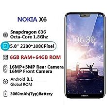 X6 (6.1 Plus) (6GB RAM, 64GB ROM) Android 8.1,(16MP+5MP) + 16MP, Hybrid Dual SIM 4G LTE Smartphone_Blue