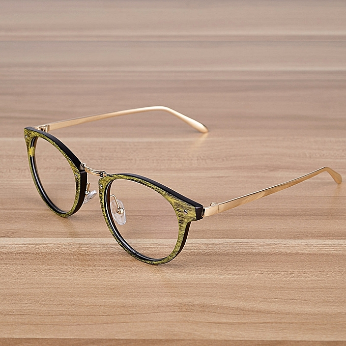 ccc93bf124 Retro Eyeglasses Optical Frames With Clear Lens Wooden Imitation Round  Vintage Metal Glasses Eyewear Spectacle Frames