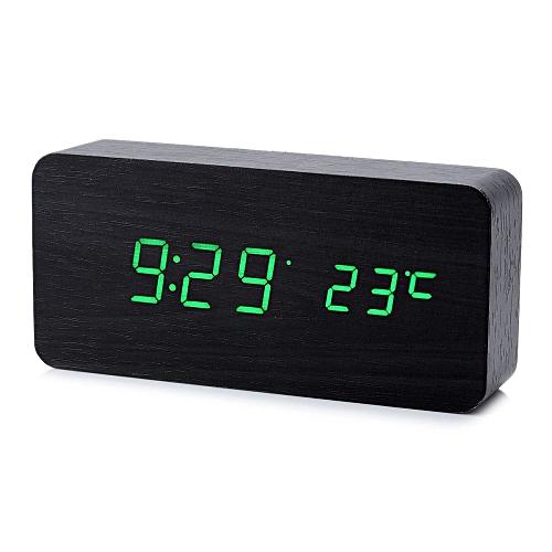 Cool Wooden Desk Alarm Clock W/ Temperature Display - Black (4 X AAA)