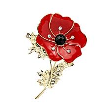 Brooch Diamante Crystal Poppy Flower Brooch Pins 01