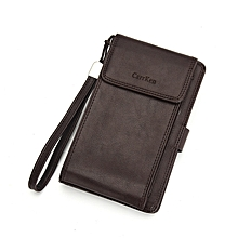 a1c9794c905af9 Men Wallet Zipper Long Purse Vintage Men Card Bag Wholesale Dark Coffee