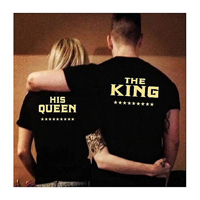 a329b99e9d8 Men Women Fashion Black Couple Clothes THE KING HIS Queen Golden Letter  Print T