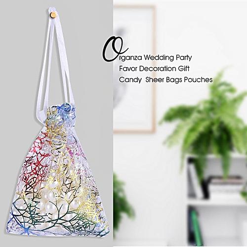 50Pcs Premium Coralline Organza Wedding Party Favor Decoration Gift Candy Present Bags White(10*15cm)