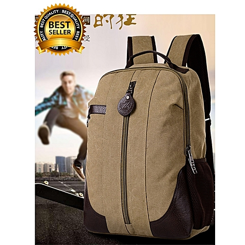 Men Large Vintage Canvas Backpack School Bag/Laptop Bag For Hiking Travel With Man Compartments For Laptop,Tablets,Phone,Watches.Etc. With Quality Quality Zipper, Strong Stitches. KHAKI