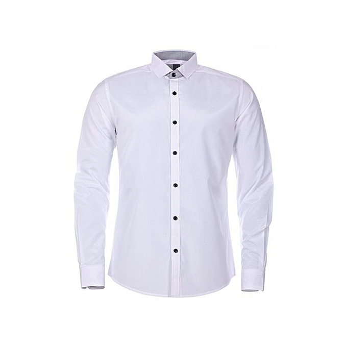 33181c1d8a4 Fashion New Mens White Long Sleeve Shirt Button Up Business And ...