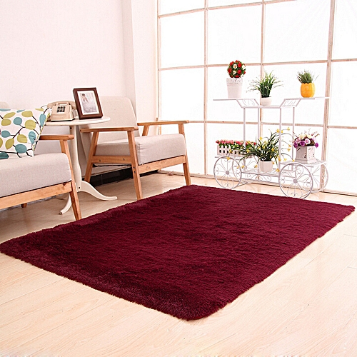 Generic Fluffy Rugs Anti Skid Gy Area Rug Dining Room Bedroom Carpet Floor Mat Red
