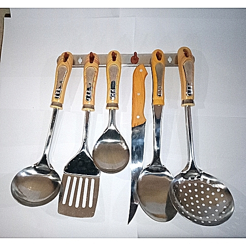 Set Of Kitchen Cooking Spoons With Wall Hanger