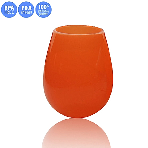 Silicone Wine Glasses,Food Grade Clear Silicone & Dishwasher Safe - Red Wine Or White Wine,Beer,Whiskey Or Any Beverage - Will Never Break (9oz, Orange)
