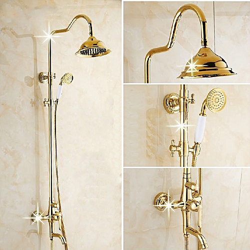 WANFAN GY-8336 Bathroom Wall Mounted Luxury Plated Rainfall Top Handheld Shower Head Mixing Faucet