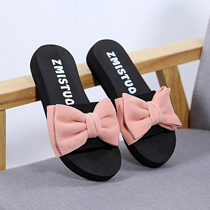3e055a50d7d9 Women Bow Summer Sandals Slipper Indoor Outdoor Flip-flops Beach Shoes Pink  -Pink