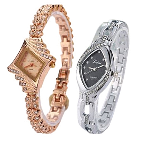 Fashion 2 In 1 Women Bracelet Watches_Silver And Gold