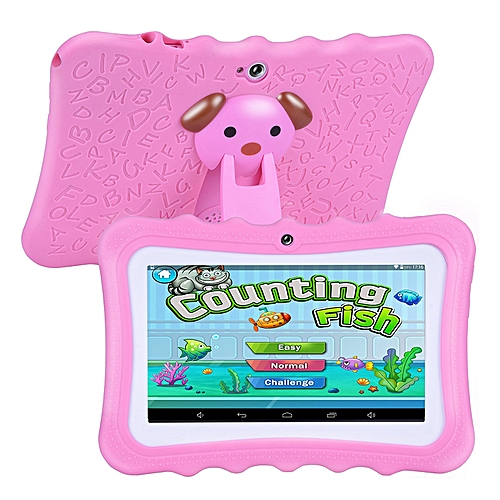 Upgrade Best Tablet For Kids, 7inch HD Display With Kid-proof Silicone Case (Quad Core, 8GB, Wifi & Bluetooth, Front & Rear Camera, Playstore, Youtube, Google, IWAWA) (Pink)