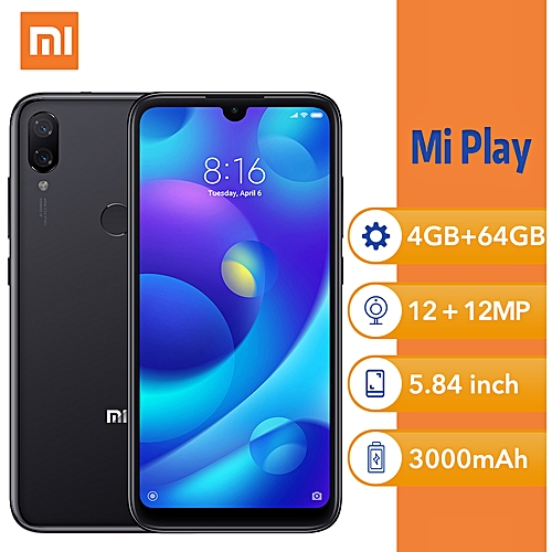 "XiaoMi MI Play 5.84"" 4GB ROM 64GB ROM Android - Black"