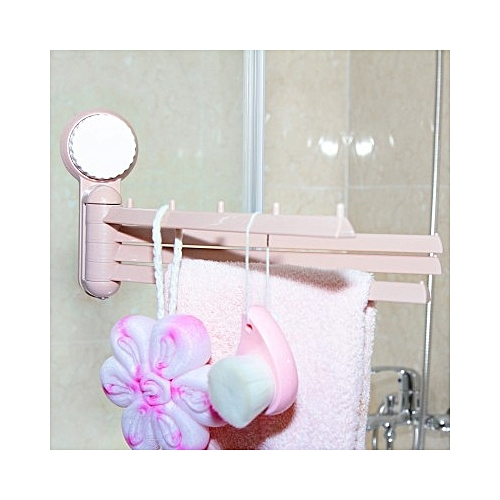 Multifunctional Rotating 4-bar Punch Free Towel Rack-Pink