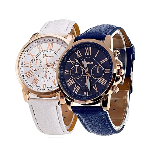 Geneva 2 In 1 Ladies  Leather Strap Watch - White And Blue