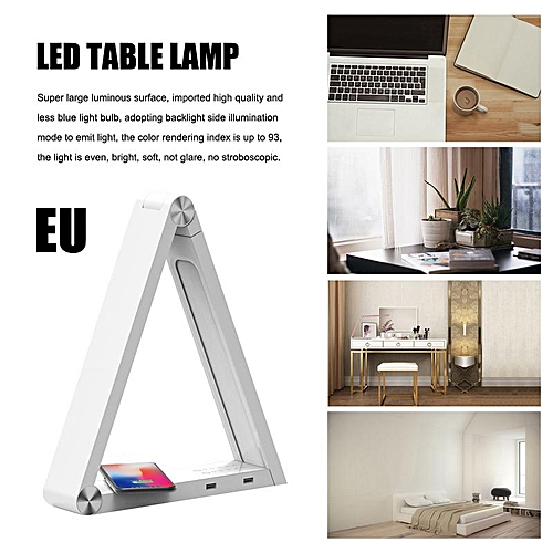 LED Triangle Table Lamp Charging Led Desk Lamps Rechargeable Table Lamps Smart Home Desk Art LightUS UK Standard(White EU)