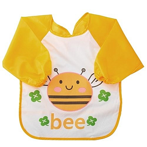 Snowy Kids Sleeved Feeding Bibs Waterproof Long Sleeve Art Apron Smock Bib For Infants Toddlers Bee