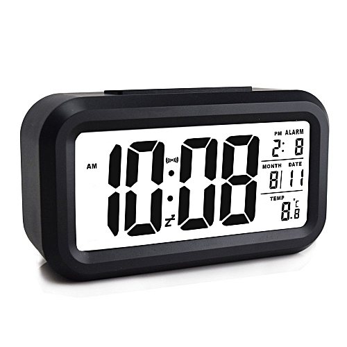 Alarm Clock, Electronic Digital Morning Clock With Large LCD, Backlight, Calendar And Temperature Black