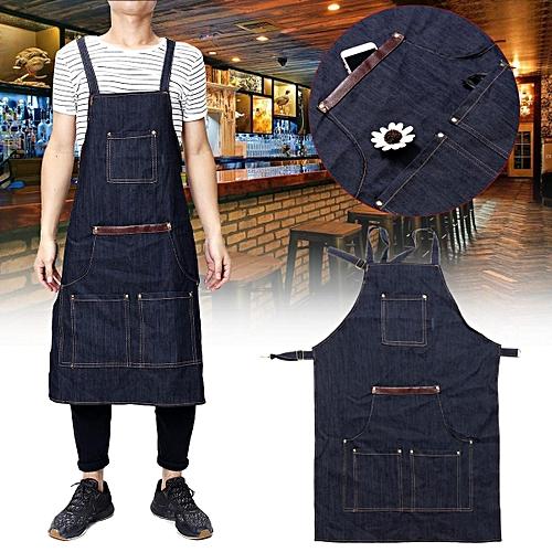 Unisex Men Ladies Denim Apron Bib Pocket Jeans Cafe Kitchen Cook Adjustable Uniform Waiter Cooking Cafe Jeans Workwear