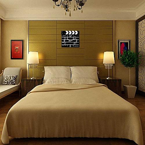 Cinema Movie Slate Analog Wall Clock Clapper Film Modern Home Black-Black