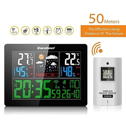 AOK-5060C - Wireless Weather Forecast Alarm Colck EU - Black