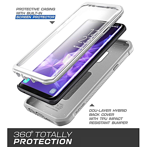 quality design 9338f 291fe For Samsung Galaxy S9+ Plus Case Full-Body Rugged Holster Case With  Built-in Screen Protector Cover Unicorn Beetle PRO Series (White)