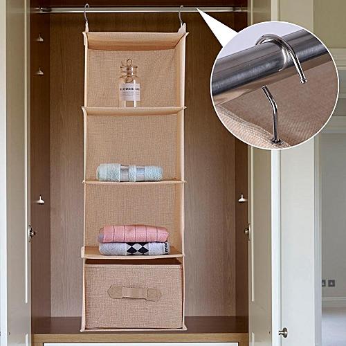 Hanging Closet Organizer Clothes Clothing Storage Holder 4 Shelves With Drawer (Beige)