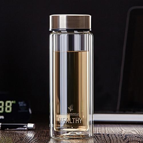 300ml Clear Double Wall Water Glass Bottle Mug