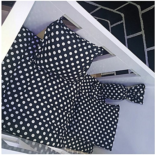 Baby Duvet Set (It Includes 1 Duvet, 1 Bedsheet With 3 Baby Pillows) With Portable Bag- Polka Dot 2