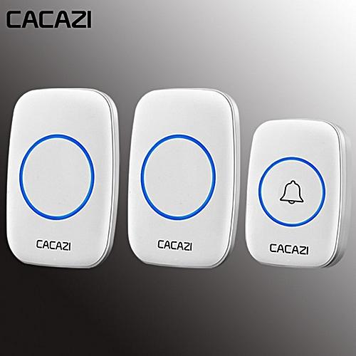 A10-2 Wireless Waterproof Doorbell 1 Battery Button 2 Receiver Door Bell White