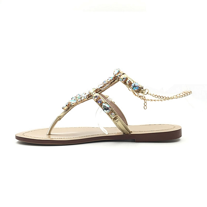 ... Platform Shoes 2017 Shoes Woman Sandals Women Rhinestones Chains Flat  Sandals Plus Size Thong Flat Sandals ... e6331367aebd