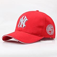 2480c58a4b7 NY Designer Baseball Face Cap Hat- Red