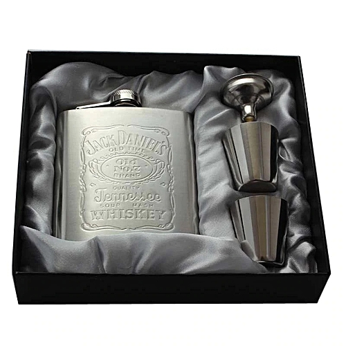 Portable Stainless Steel Hip Flask 7oz Embossed Flagon Set Pocket Flask Russian Flagon Wine Whiskey Bottle Alcohol Holiday Gifts