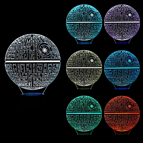3D Optical LED Illusion Night Light RGB Death Star LED