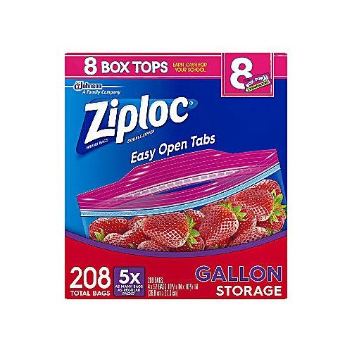 Ziploc Easy Open Tabs Storage Gallon Bags 208 Ct