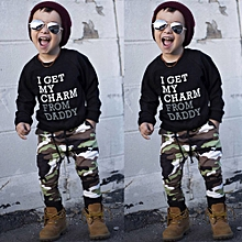 ab2eca47e94 Toddler Kids Baby Boy Letter T Shirt Tops+Camouflage Pants Outfits Clothes  Set