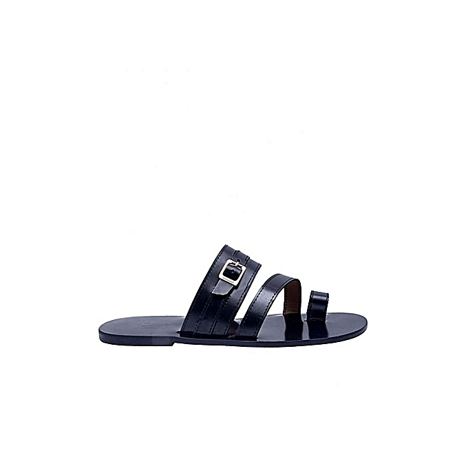 4f599ceb6af Cornel Men s Open Toe Pam Slippers With Buckle - Black